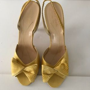 KATE SPADE yellow croc heels with bow.